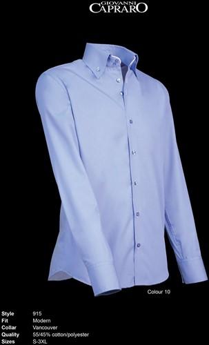Giovanni Capraro 915-10 Overhemd - Licht Blauw [Wit accent]