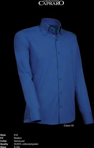 Giovanni Capraro 916-55 Overhemd - Donker Blauw [Groen accent]