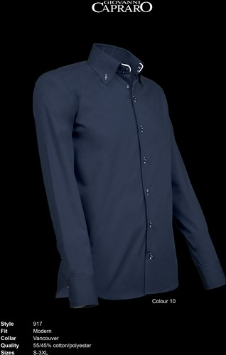 Giovanni Capraro 917-10 Overhemd - Navy [Wit accent]