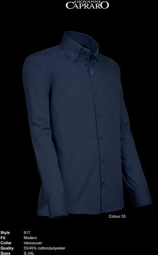 Giovanni Capraro 917-55 Overhemd - Navy [Groen accent]