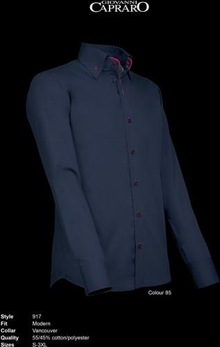 Giovanni Capraro 917-85 Overhemd - Zwart [Rood accent]