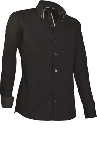 Giovanni Capraro 922-20 Overhemd - Zwart [Beige accent]