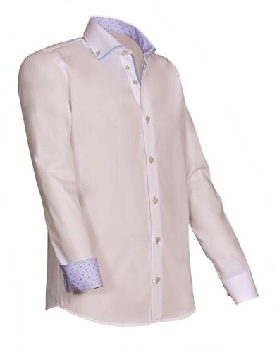Giovanni Capraro 923-31 Overhemd - Wit [Licht Blauw accent]