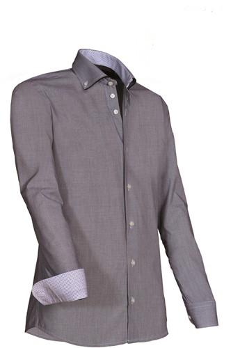 Giovanni Capraro 924-20 Overhemd - Grijs [Zwart accent]