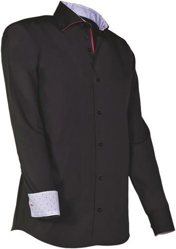 Giovanni Capraro 925-20 Overhemd - Zwart [Rood accent]