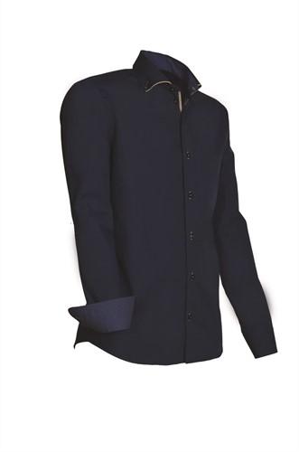 Giovanni Capraro 925-38 Overhemd - Navy [Beige accent]
