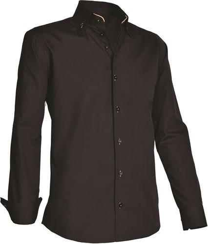 Giovanni Capraro 926-20 Overhemd - Zwart [Beige accent]