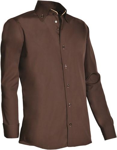 Giovanni Capraro 926-49 Overhemd - Bruin [Beige accent]