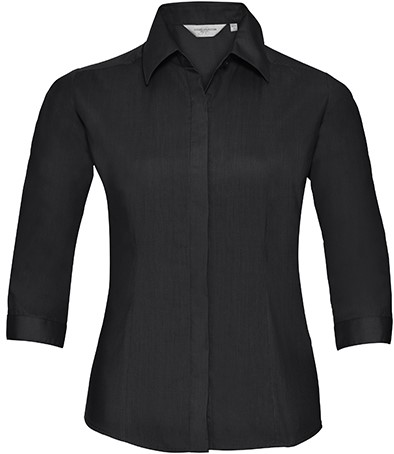 Russell - Ladies` 3/4 Sleeve Fitted Polycotton Poplin Shirt - 115 grams
