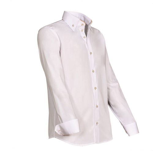 Giovanni Capraro 932-43 Overhemd - Wit [Beige accent]-1