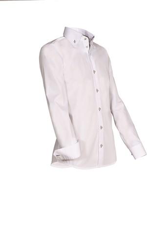 Giovanni Capraro 932-49 Overhemd - Wit [Bruin accent]-1