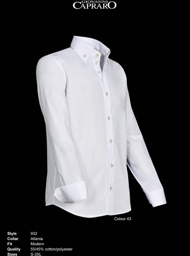 Giovanni Capraro 932-43 Overhemd - Wit [Beige accent]-2