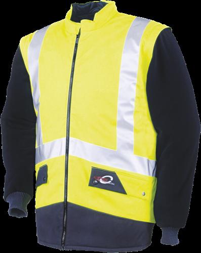 Sioen Etretat Signalisatie Bodywarmer Met Uitritsbare Mouwen-S-Fluo Geel/Marine