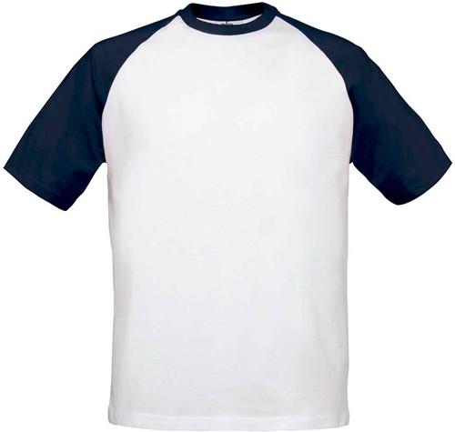 B&C Base-Ball T-shirt-XXL-Wit / Navy