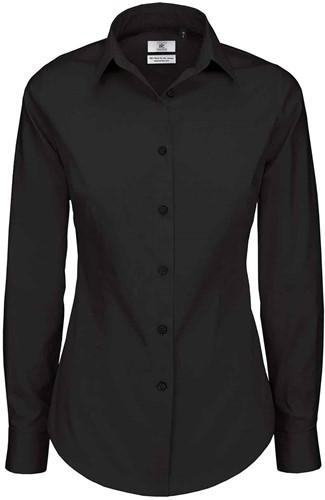 B&C Black Tie LSL Dames Blouse-Zwart-XS