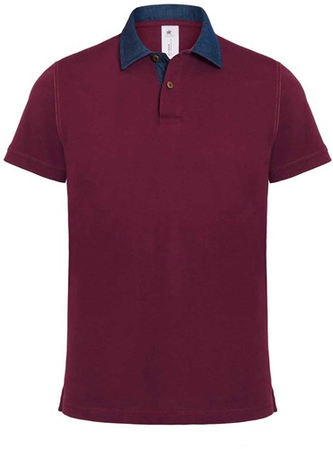 B&C DNM Forward Heren Polo-S-Denim / Burgundy