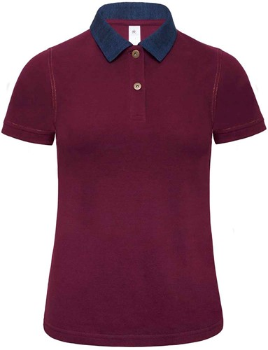 B&C DNM Forward Dames Polo-XS-Denim / Burgundy