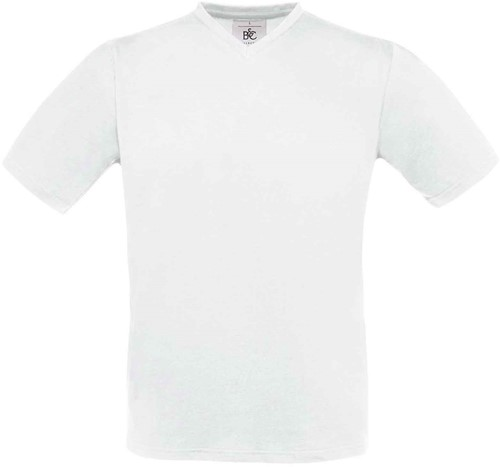 B&C Exact V-Neck T-shirt-Wit-XXL