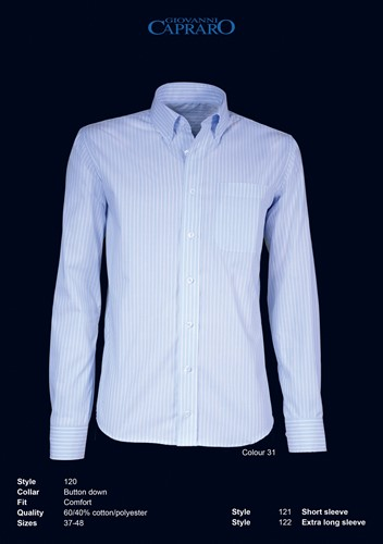 Giovanni Capraro 120-31 Overhemd - Licht Blauw gestreept