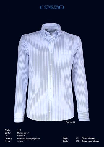 Giovanni Capraro 120-34 Overhemd - Wit gestreept