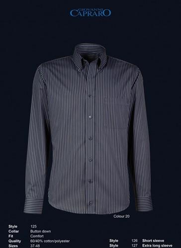Giovanni Capraro 125-20 Overhemd - Zwart gestreept