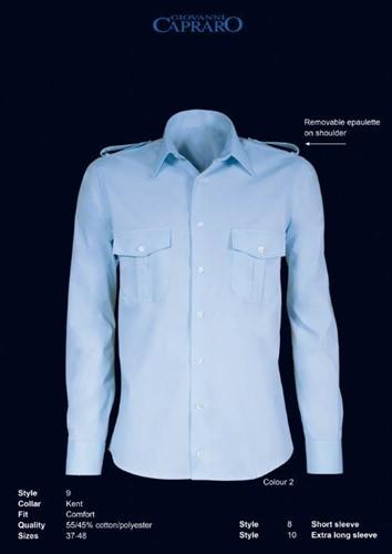 Giovanni Capraro 9-02 Pilot Overhemd - Blauw