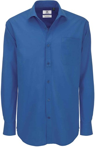 B&C BCSMP41 Heritage Long Sleeve Heren Overhemd-S-Blauw Chip
