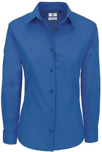 B&C Heritage LSL Dames Blouse-XS-Blauw Chip