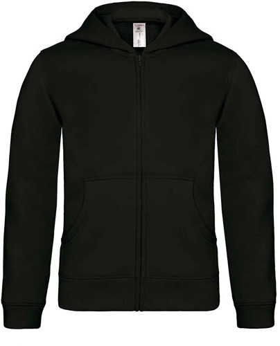 B&C Hooded Full Zip kids Sweater-Zwart-12/14