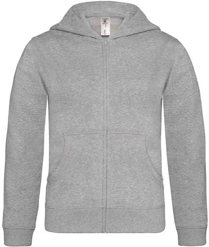 B&C Hooded Full Zip kids Sweater-12/14-Heather Grijs