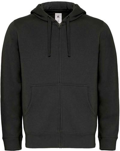 B&C Hooded Full Zip Heren Sweater-Zwart-XXL