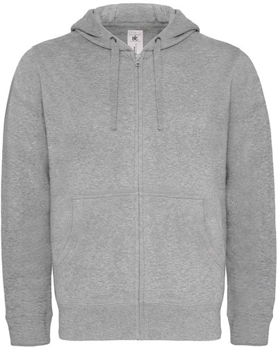 B&C Hooded Full Zip Heren Sweater-S-Heather Grijs