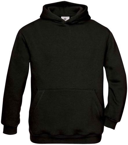 B&C Hooded kids Sweater-Zwart-12/14