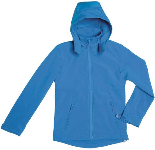 B&C Hooded softshell Jas kids-5/6-Azure