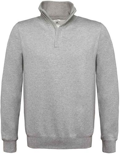 B&C ID.004 Zip sweater-S-Heather Grijs