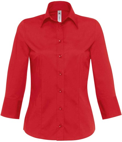 B&C Milano Dames Blouse-XS-Diep Rood