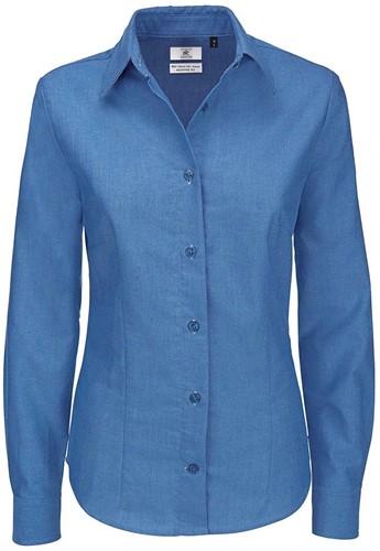 B&C Oxford LSL Dames Blouse-XS-Blauw Chip