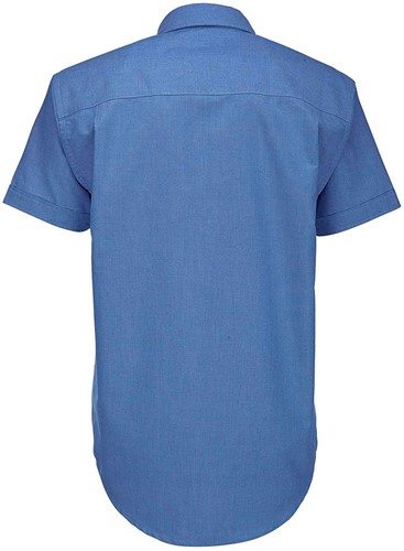 B&C BCSMO02 Oxford Short Sleeve Heren Overhemd-S-Blauw Chip
