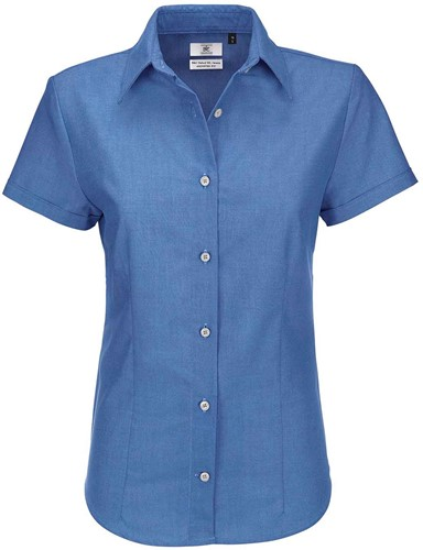 B&C Oxford SSL Dames Blouse-XS-Blauw Chip