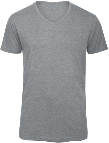 B&C TM057 V Triblend Heren T-shirt - Heather light Grijs - XXL-XXL-Heather light Grijs