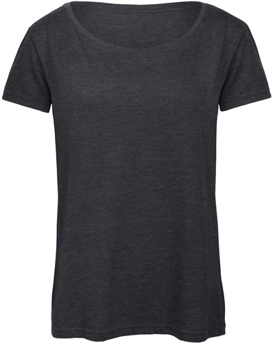B&C TW056 Triblend Dames T-shirt - Heather donker grijs - XS-XS-Heather donker grijs