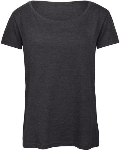 B&C TW056 Triblend Dames T-shirt - Heather donker grijs - XXL-XXL-Heather donker grijs