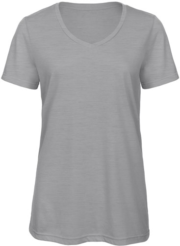 B&C TW058 V Triblend Dames T-shirt - Heather light Grijs - XS-XS-Heather light Grijs