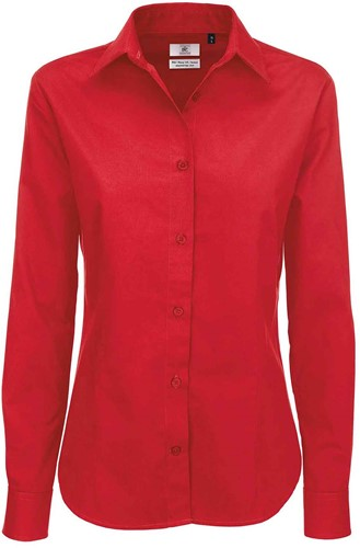 B&C Sharp LSL Dames Blouse-XS-Diep Rood