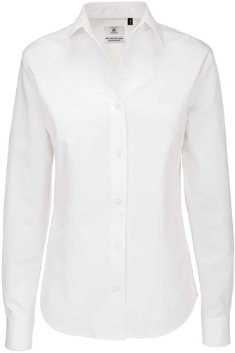 B&C Sharp LSL Dames Blouse-Wit-XS