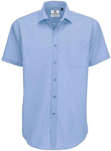 B&C BCSMP62 Smart Short Sleeve Heren Overhemd-S-Business blauw