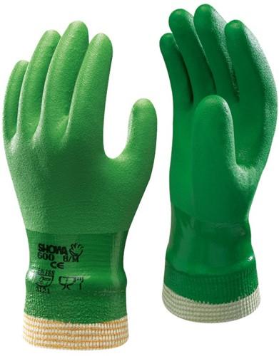 Showa 600 Werkhandschoen PVC Groen-7-S