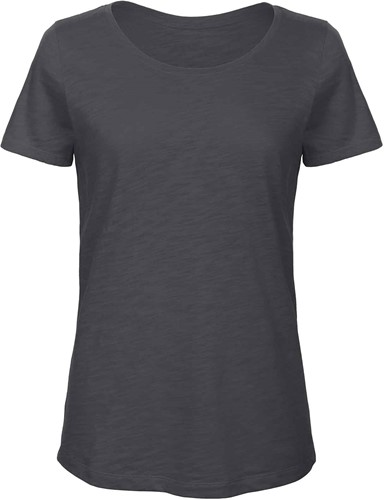 B&C TW047 Slub Dames T-shirt-Chic anthracite-XS