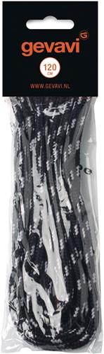 Gevavi Veters rond - zwart/grijs (10 paar)-90 cm
