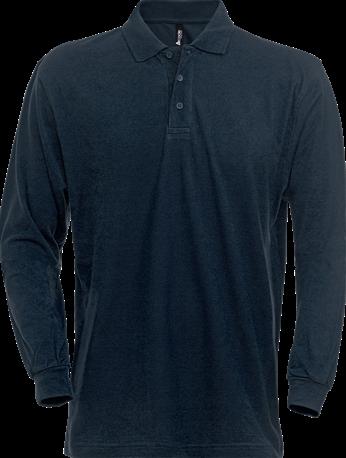 Acode Polo piqué zware kwaliteit lange mouw-XS-Donker marineblauw